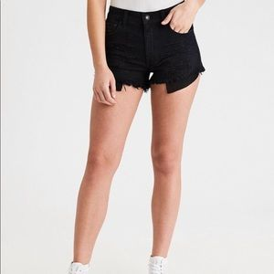 American Eagle black distressed lace pocket shorts